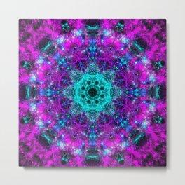 Neon Space Mandala Metal Print