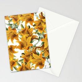 Botanical vintage green orange lily floral pattern Stationery Cards