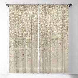 Girly trendy gold glitter ivory marble pattern Sheer Curtain