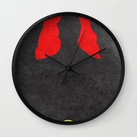 black widow Wall Clocks featuring Black Widow by theLinC