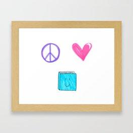 peace love and books Framed Art Print