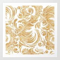 Gold Glitter Leaves Art Print