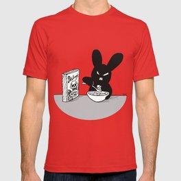 The Black Bunny of Doom enjoying his breakfast T-shirt