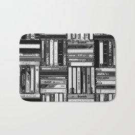 Music Cassette Stacks - Black and White - Something Nostalgic IV #decor #society6 #buyart Bath Mat
