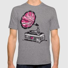 Linocut Gramophone Mens Fitted Tee LARGE Tri-Grey