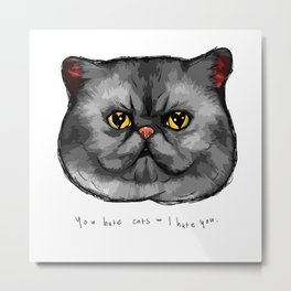 YOU HATE CATS = I HATE YOU. Metal Print