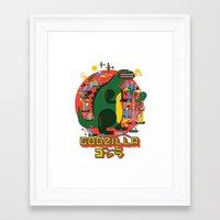 godzilla Framed Art Prints featuring GODZILLA by Katboy 7