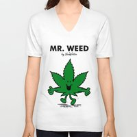 weed V-neck T-shirts featuring Mr Weed by NicoWriter