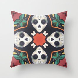 Skulls and Bones // Skeleton Creepy Cute Halloween Dead Sugar Skull Death Witch Voodoo Crossbones Throw Pillow