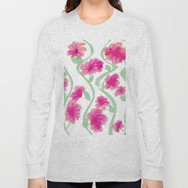 Flowering Vines In Pink Long Sleeve T-shirt