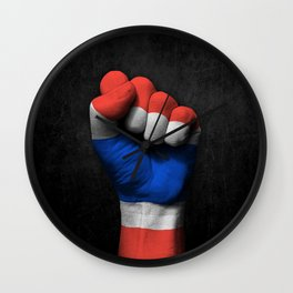 Thai Flag on a Raised Clenched Fist Wall Clock