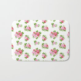 Blush pink red green watercolor floral camellia pattern Bath Mat