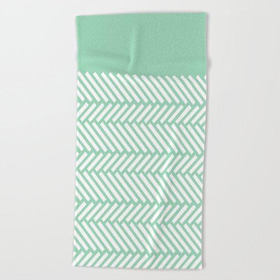 Herringbone Mint Boarder Beach Towel