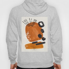 Fun Mid Century Modern Abstract Minimalist Vintage Brown Organic Shapes With Geometric Patterns Hoody