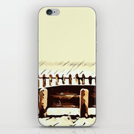 wooden bench and wooden fence iPhone Skin