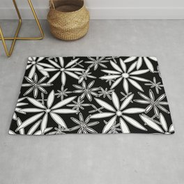 Abstract Floral Daisy Flower Pattern Black and White Art by Megan Duncanson MADART Rug
