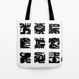Black and white square monsters Tote Bag