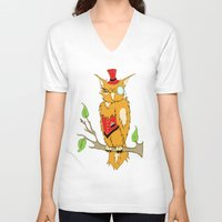 steam punk V-neck T-shirts featuring Steam Punk Owl by J&C Creations
