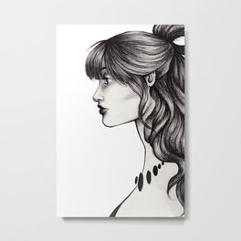 Woman Profile Pen Sketch Metal Print