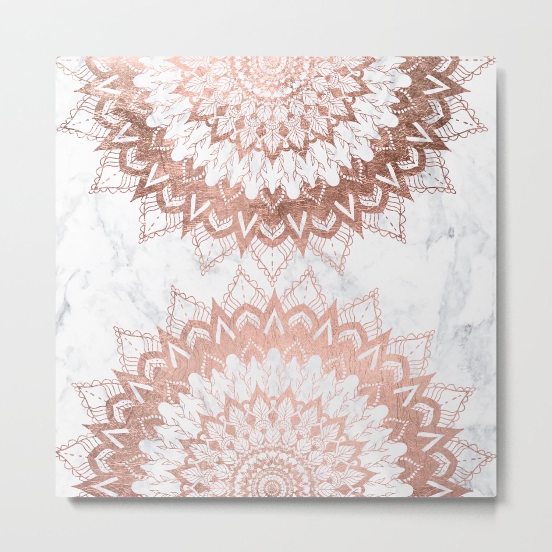Modern Chic Rose Gold Floral Mandala Illustration On Trendy White