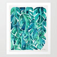Split Leaf Philodendron – Teal Art Print
