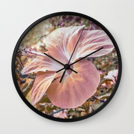 Fantasy Colors Hibiscus Flower Digital Photography Wall Clock