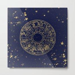 Metallic Gold Vintage Star Map Metal Print
