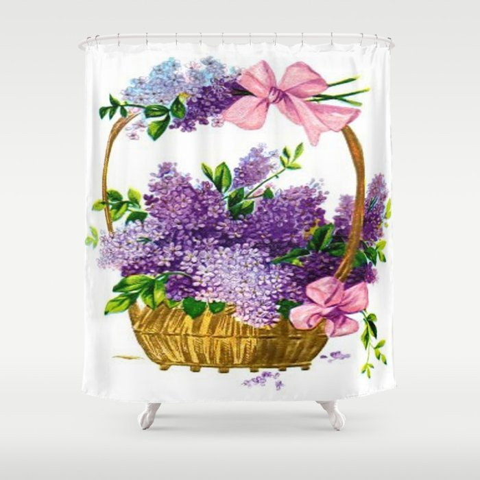 Vintage Lilacs Antique Basket Shower Curtain