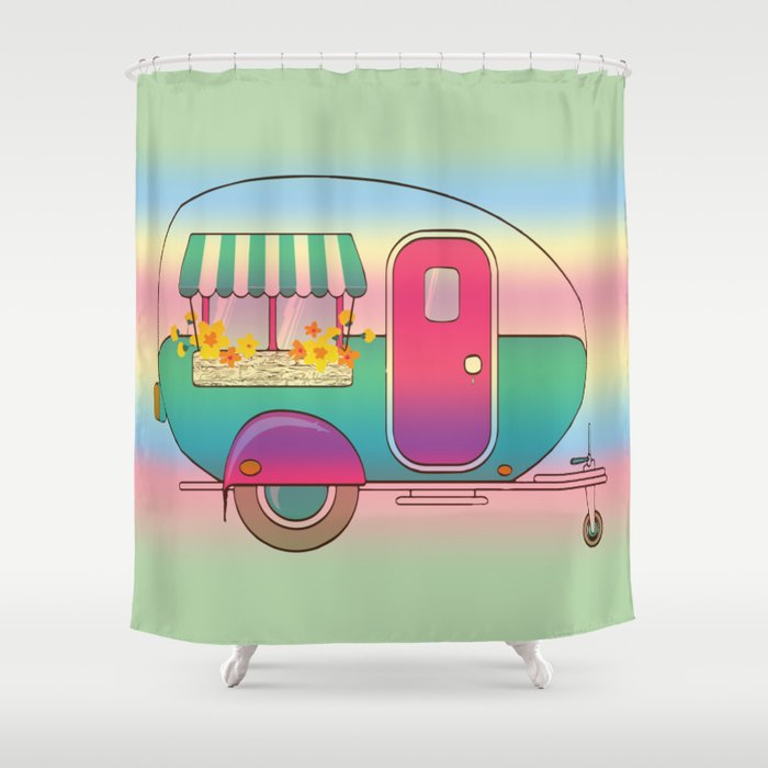 Happy Camper RV Camping Shower Curtain
