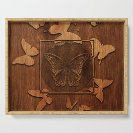 Butterfly Wood decor Serving Tray