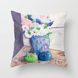 Owl Shakers and Blooms Throw Pillow