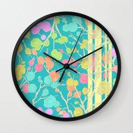 Bright Cherry Blossom Stripe Wall Clock