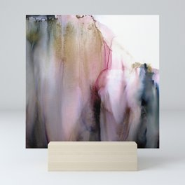 Ethereal - soft watercolor wash in blush, pink and grays, marble effect Mini Art Print