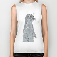 otter Biker Tanks featuring Otter by caseysplace