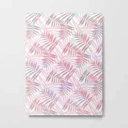 Pastel Color Palms Pattern Metal Print