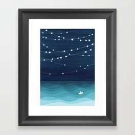 Garlands of stars, watercolor teal ocean Framed Art Print