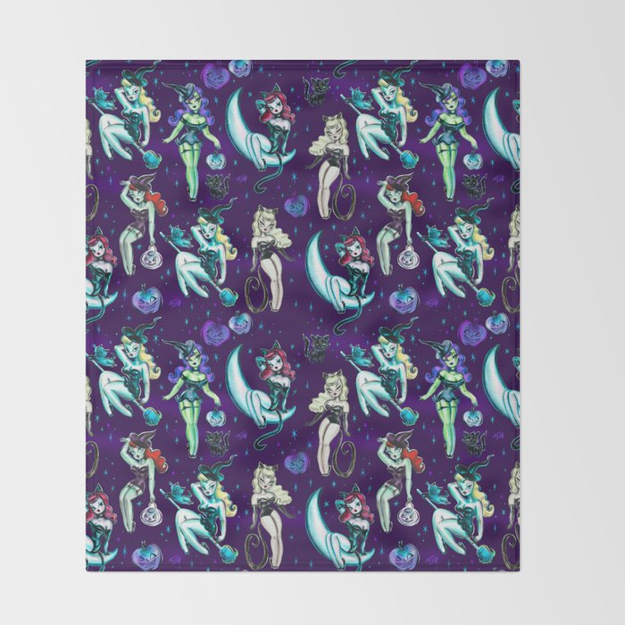Witches and Black Cats Throw Blanket