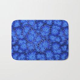 Blue Daisy Pattern Bath Mat