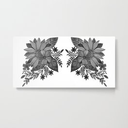 Watercolor sunflowers - black and white Metal Print