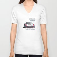 moby dick V-neck T-shirts featuring Porsche 935/78 Moby Dick by vsixdesign