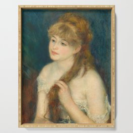 Auguste Renoir, Young Woman Braiding Her Hair, 1876 Serving Tray