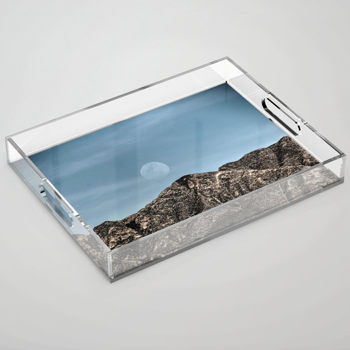 Moon over the Franklin Mountains Acrylic Tray