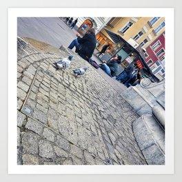 Pigeons in Maribor Art Print