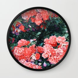 Psychedelic summer florals Wall Clock