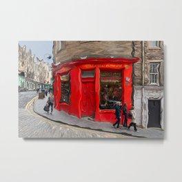 Red Store On Corner Metal Print