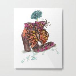 Sandals N Daisy Petals Fashion Illustration Art Print Metal Print