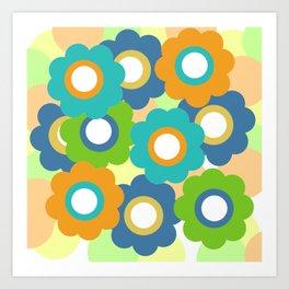 Retro Vintage Bundle of Flowers - Turquoise 2 Art Print