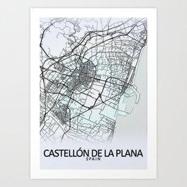 Castellón de la Plana, Spain, White, City, Map Art Print