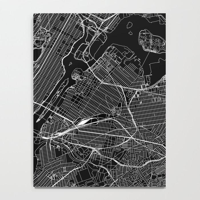 New York City Black Map Notebook