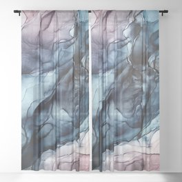 Blush and Darkness Abstract Paintings Sheer Curtain